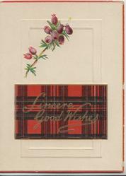SINCERE GOOD WISHES in gilt on tartan plaque below purple heather