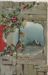 BEST WISHES in gilt below inset night scene in wooden fence, berried holly left, small bird-of-happiness(or English robin)