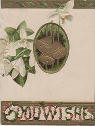 GOOD WISHES(illuminated & perforated) below ivy & snowdrops, inset of 3 gilt bells