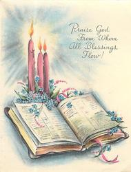PRAISE GOD FROM WHOM ALL BLESSINGS FLOW! open Bible with blue forget-me-nots, 3 lit candles behind