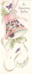 AN ANNIVERSARY GREETING pink bell with floral design, butterflies, swirling gilt music notation
