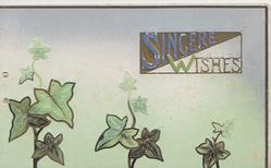 SINCERE WISHES on gilt & white plaque above ivy, pale green & white background