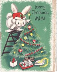 MERRY CHRISTMAS, MUM rabbit wearing Santa hat stands on step ladder to decorate Xmas tree, green background
