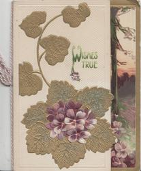 WISHES TRUE in green, violets over large gilt stylised leaf, rural inset on right flap
