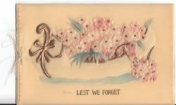 LEST WE FORGET canoe full of pink forget-me-nots