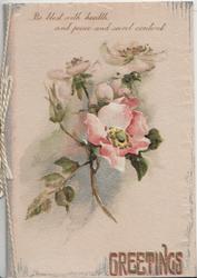 GREETINGS in gilt, below wild roses, verse above