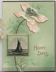 HAPPY DAYS in gilt right above inset of sailing boat, pink wild rose at top, green background
