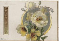 REMEMBRANCE on gilt plaque left, white & yellow wild roses over circular inset