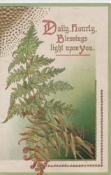 DAILY, HOURLY, BLESSINGS LIGHT UPON YOU(illuminated) above green & bronzed fronds of fern
