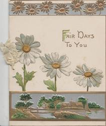 FAIR DAYS TO YOU above 3 white daisies with yellow centres, stylised daisies above, watery rural inset below
