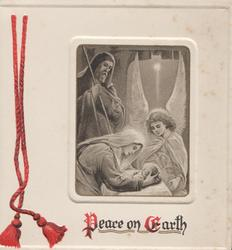 PEACE ON EARTH below Mary bent over holding Jesus, angel behind, Joseph observes, red threads left