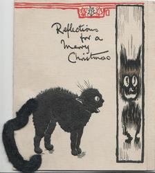 REFLECTIONS FOR A MERRY CHRISTMAS black cat with applique tail frightened by its reflection in mirror