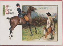 ALL GOOD WISHES, huntswoman riding sidesaddle takes direction from man on road with dog