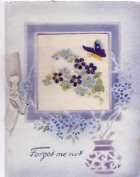 FORGET ME NOT embroidered inset with blue flowers & butterfly, stencilled pot & flowers below