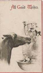 ALL GOOD WISHES(A,G &W illuminated) horse in stable eating hay, 3 kittens play