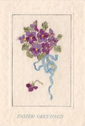EASTER GREETINGS opt. in blue below oblong insert embroidered with violets