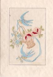 no front title, oblong insert embroidered with 2 bluebirds of happiness &  basket of flowers