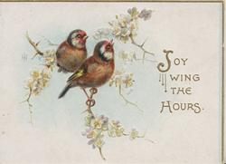JOY WING THE HOURS beside 2 birds of happiness perched among blossom