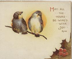 MAY ALL THE HOURS BE WING'D WITH JOY..2 birds of happiness perched on thin branch, sun behind, holly below right
