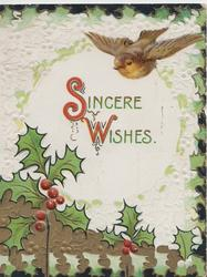 SINCERE  WISHES(S & W illuminated) in red & blue over berried holly design, bird of happiness, English robin flies above