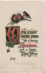 WITH EVERY GOOD WISH FOR A MERRY CHRISTMAS AND A HAPPY NEW YEAR(illuminated) 3 bluebirds of happiness, or English robins, perched at top