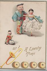A LOVELY TIME in gilt, doll couple,she dances on one leg, doll child observes, trumpet below