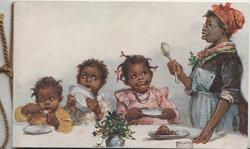 mother serves pudding to 3 black children, inside WITH EVERY GOOD WISH FOR A RIGHT HAPPY CHRISTMAS