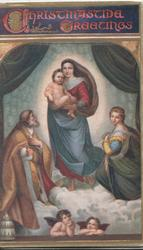 CHRISTMASTIDE GREETINGS, Madonna standing with child, adored, 2 angels below