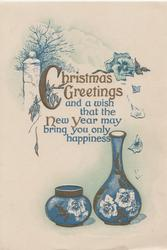 CHRISTMAS GREETINGS in gilt, verse above 2 blue pots with pansy motif, tree & pansy above