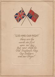 """2 flags """"GOD AND OUR RIGHT"""" over verse:-"""