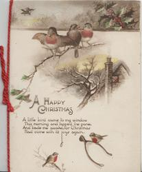 A HAPPY CHRISTMAS verse, bluebirds of happiness, perhaps English robins perched round winter rural cottage scene