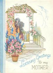 LOVING GREETINGS TO MY MOTHER below front steps adorned with flowers, metal railing