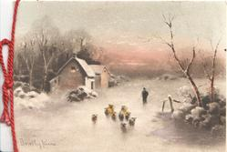 no front title, winter scene, 9 sheep driven front on snowy road in evening