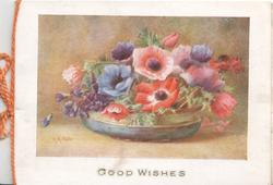 GOOD WISHES blue shallow bowl of multicoloured anemones