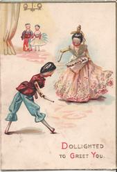 DOLLIGHTED TO GREET YOU two dolls dressed in oriental clothing dance in front, two stand in the back