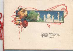 GOOD WISHES below Japanese lanterns & small inset of a palace, cream background