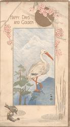 HAPPY DAYS  AND GOLDEN above inset of Japanese crane & volcano, blossom above, fish below