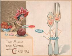 THE SMILE THAT COMES WITH CHRISTMAS doll serving food to personised fork & spoon