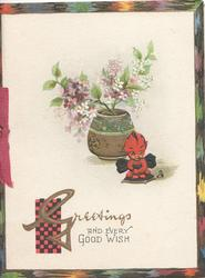 GREETINGS AND EVERY GOOD WISH below Japanese imp beside pot of purple & white lilac, designed margins