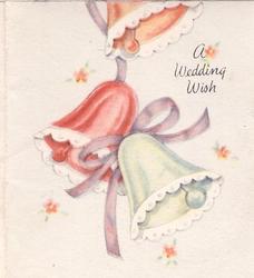 A WEDDING WISH 3 bells & mauve ribbon, 5 dainty stylised flowers