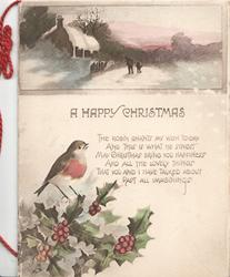 A HAPPY CHRISTMAS below snowy rural inset in sepia & colour at top, verse, holly & robin in colour below
