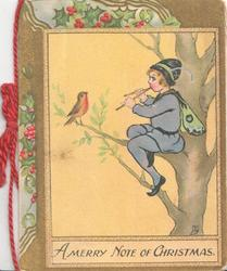 A MERRY NOTE OF CHRISTMAS below child sitting in tree playing pipes to robin, yellow background, marginal holly designs