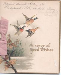 A COVEY OF GOOD WISHES 3 pheasants fly up from swamp