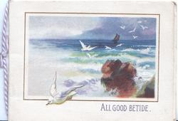 ALL GOOD BETIDE, seascape, many gulls fly, rock lower right