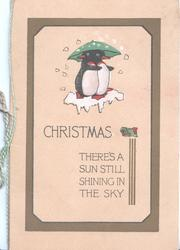 CHRISTMAS THERE'S A SUN STILL SHINING IN THE SKY below 2 humanized penguins standing on snow under umbrella