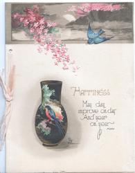 HAPPINESS above quote.. bluebird of happiness flys above, another on black vase, pink blossom top left
