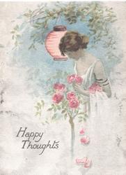HAPPY THOUGHTS in gilt below woman picking pink roses, Japanese lantern above
