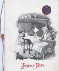 JOYEUX NOEL below old woman sitting at table, fire behind, cat front left, seal of NATIONAL CATHOLIC WAR COUNCIL USA