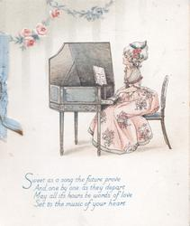 SWEET AS  A SONG....  woman in old style dress seated playing antique piano, pink roses above