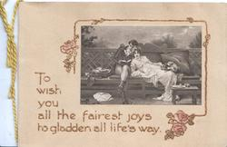 TO WISH ....man reads to girl on bench, old style dress, pink roses below